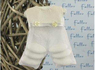 Salopette blanche de baptême avec dragées
