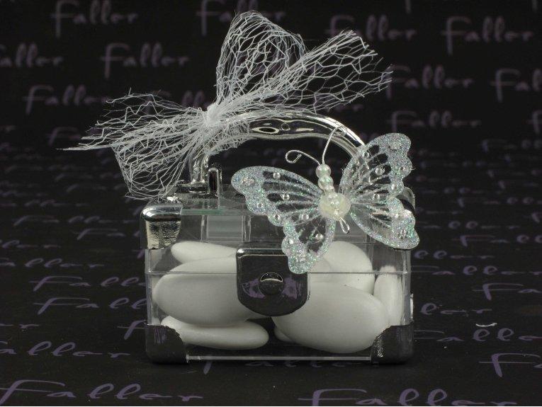 Petite malette avec papillon souvenir de baptême
