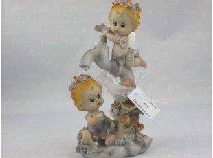Souvenir de baptême jumeaux avec sachet de dragées