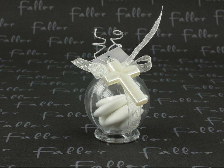 Boule à dragées avec bijou croix blanche de communion
