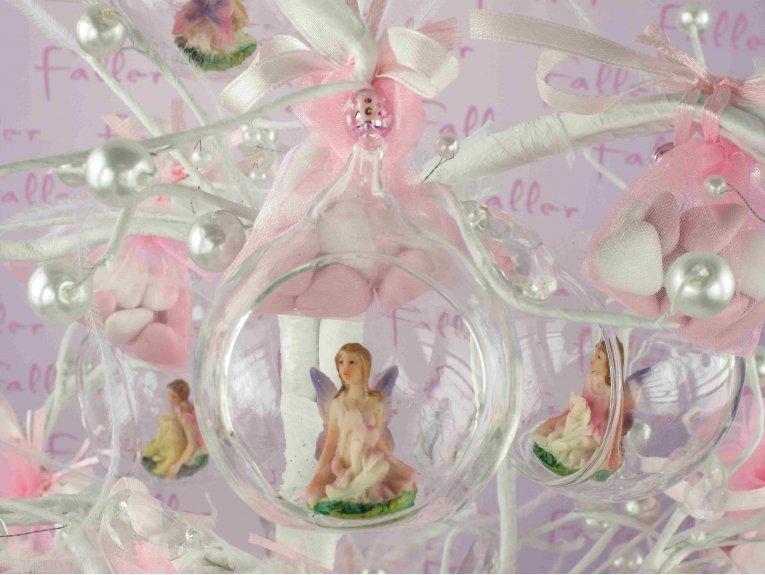 Elfe dans boule avec pochon de dragées pour naissance