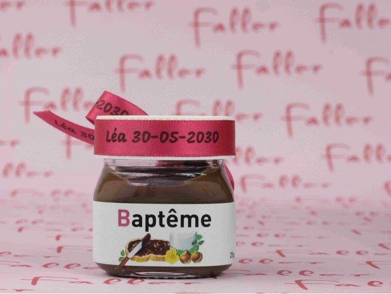 Mini pot de Nutella® pour un baptême original de fille