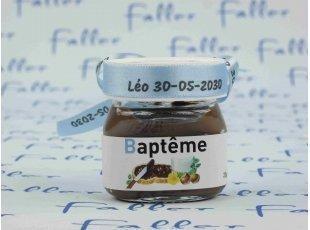 Mini pot de Nutella® pour un baptême de garçon original