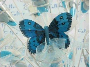 Cornet avec papillons bleu et ses dragées