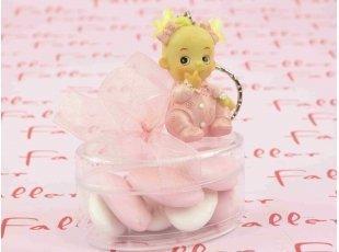 Bébé fille porte clef avec sa boite à dragées
