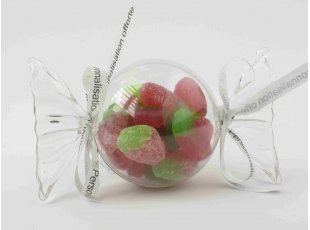 Bonbon plexi rond avec bonbons Vegan