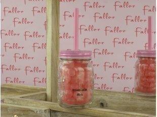 Bocal avec paille garni de Dragibus rose