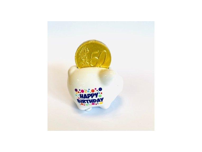 Mini tirelire cochon happy birthday