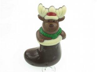 Elan de noël dans sa botte chocolat noir
