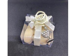 Boite plexi ruban écru et  bijoux calice