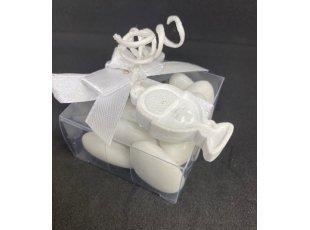 Boite plexi ruban blanc et  calice blanc