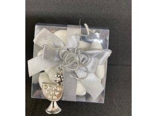 Boite plexi ruban gris et  bijoux calice