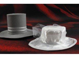 Contenants dragées chapeaux écru et gris pour mariage original