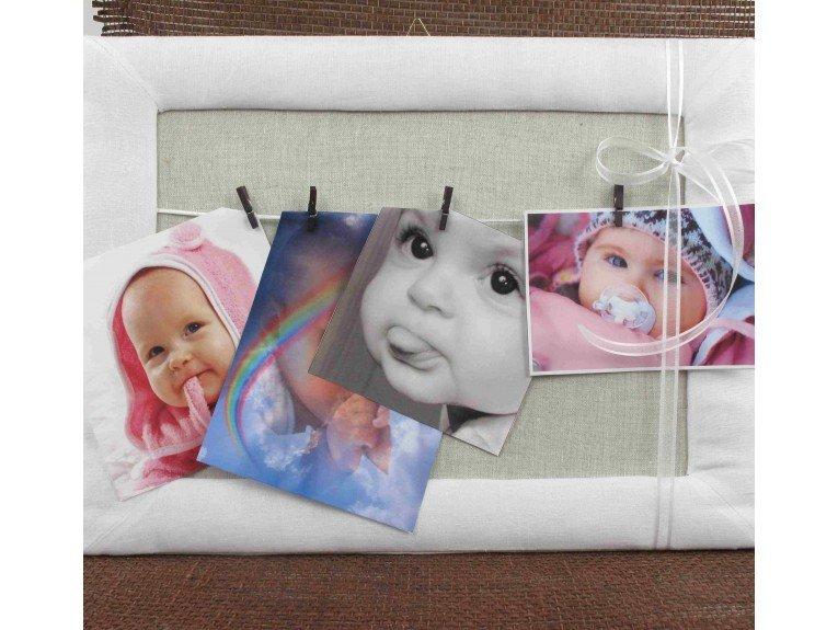 Cadre photo en lin avec dragées naissance