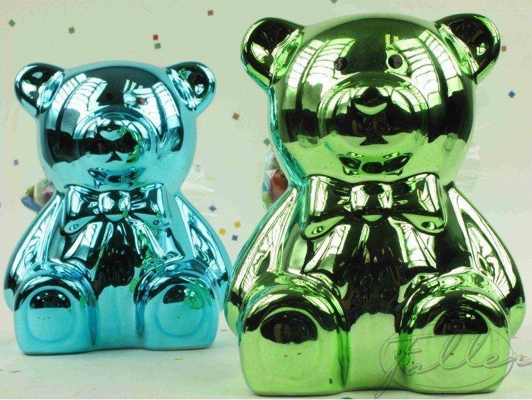 Tirelire ourson turquoise et anis avec dragées