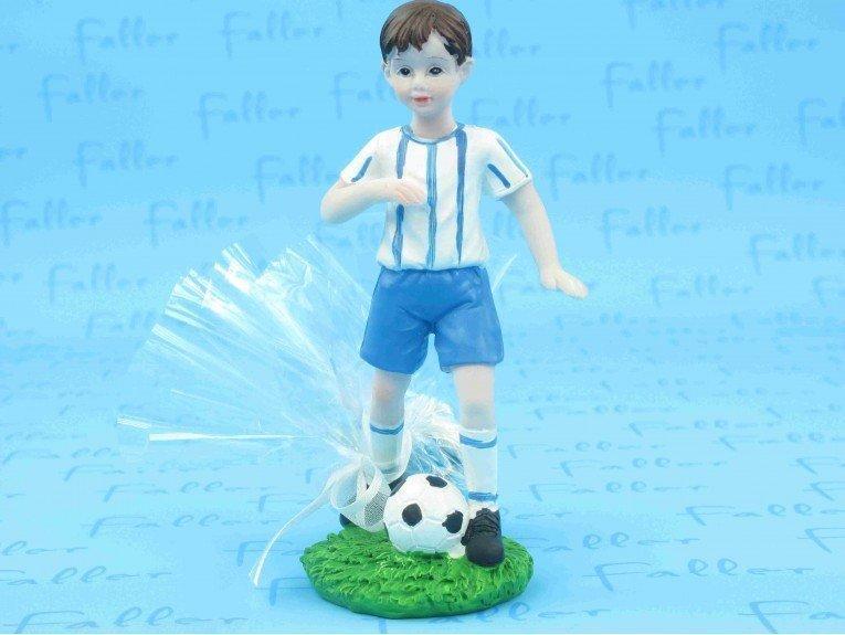 Grand footballeur bleu avec pochon dragées