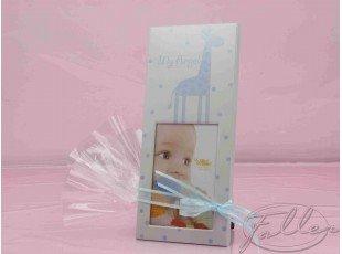 Petit cadre photo girafe bleu avec pochon dragees