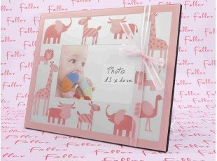 Grand cadre photo enfant animaux avec dragées