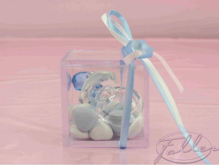 Dragées naissance garçon avec tétine en verre bleu