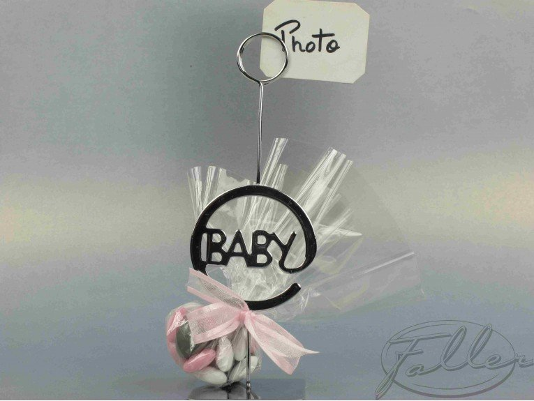 Porte-photo baby naissance avec dragées fille