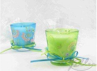 Bougeoirs baptême turquoise et anis avec dragées