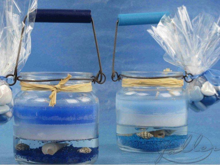 Bougie maritime dans verre & dragées baptême