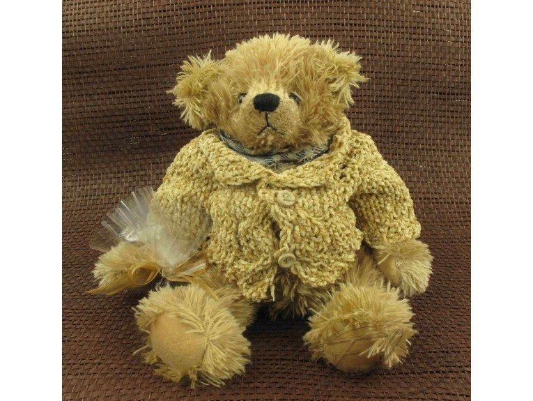 Grande peluche ours écru avec pochon dragées