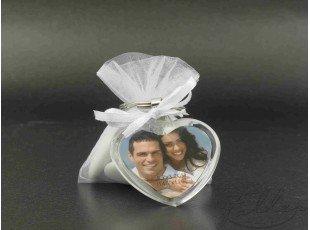 Porte-clés coeur cadre photo et pochon dragées mariage