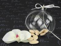 Dragées mariage dans boule avec orchidée écrue