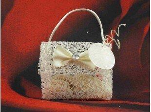 Petit sac tissé écru avec nominette mariage