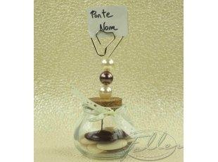 Pot à dragées mariage et porte-nom perlés