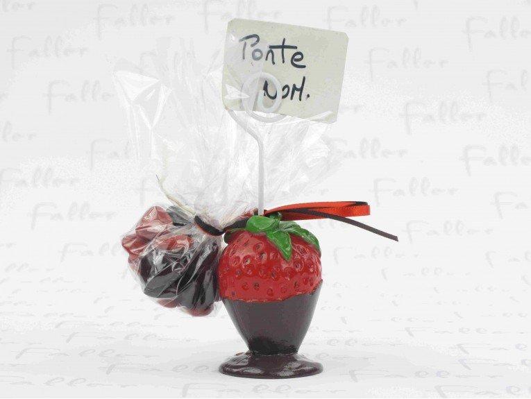 Porte-photo fraise chocolatée et dragées baptême