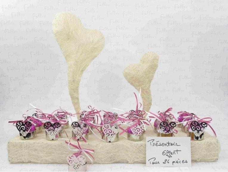Porte bougie coeur avec boule fuchsia et dragees mariage