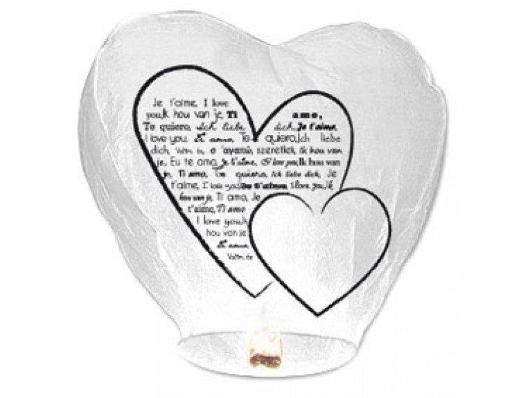 Lampe a voeux blanche en forme de coeur