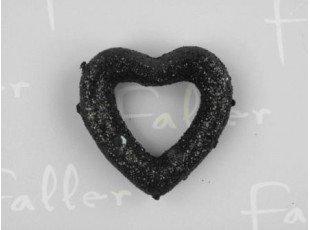 Coeur relief noir pour déco de fête