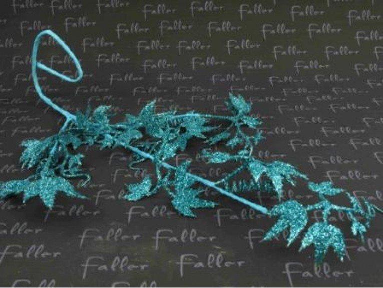 Feuille de vigne pailletee turquoise
