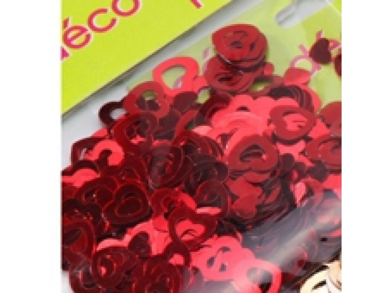 Deco paillettes coeur rouge