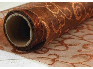 Chemin table en organza avec arabesque marron