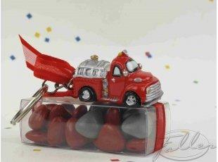 Camion de pompier porte-clés et dragées baptême