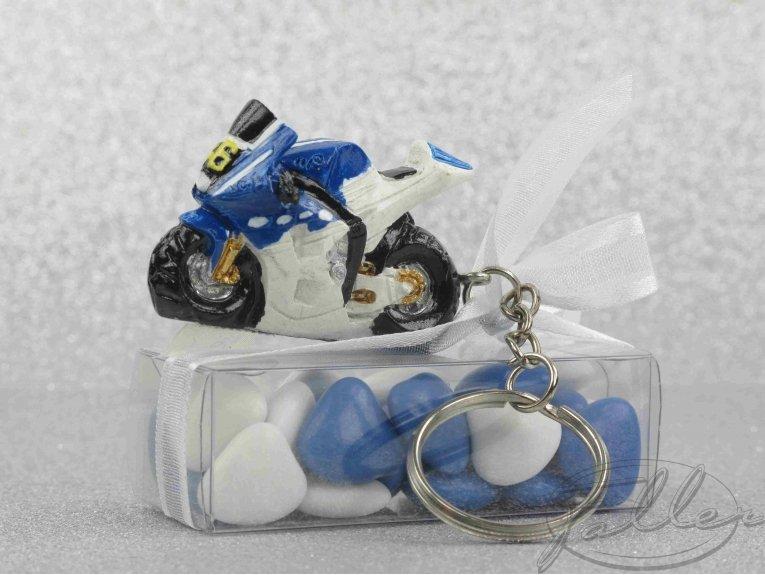 Moto porte-clés et boite de dragées mariage