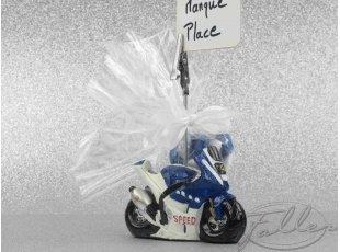 Porte-photo moto déco mariage avec dragées