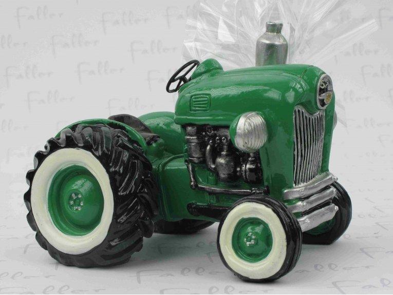 Grand tracteur vert tirelire avec dragées