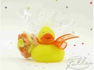Canard de bain jaune avec dragées de baptême