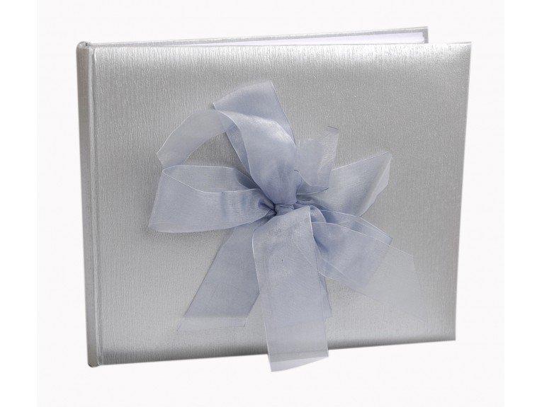 Livre d'or mariage argenté avec noeud satiné