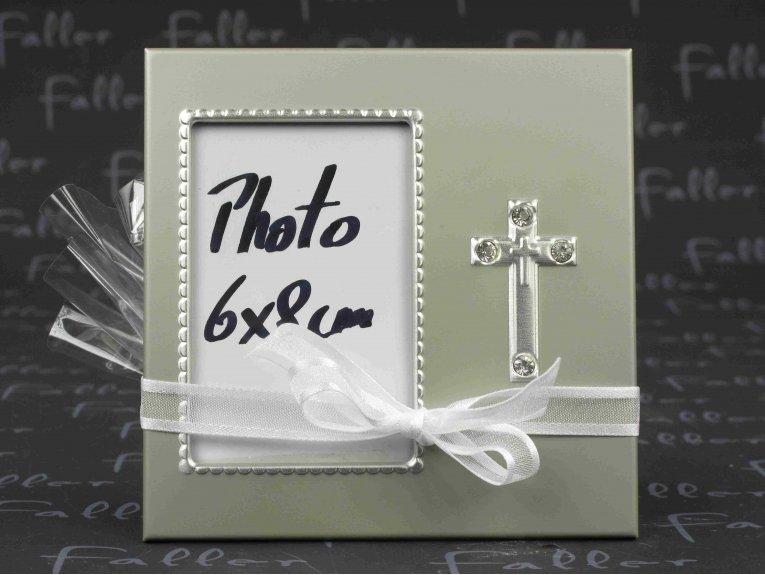 Petit cadre photo avec croix  et pochon de dragees communion