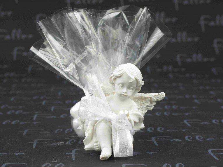 Ange avec perle et pochon de dragees de communion