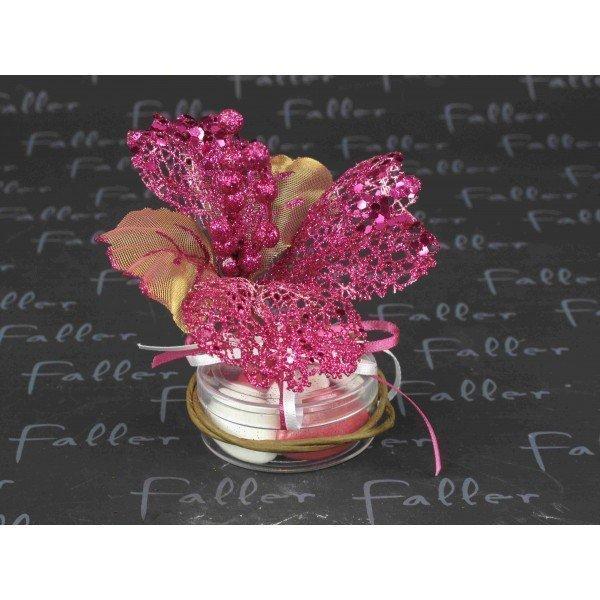 boite dragee mariage avec fleur paillettee fuchsia. Black Bedroom Furniture Sets. Home Design Ideas