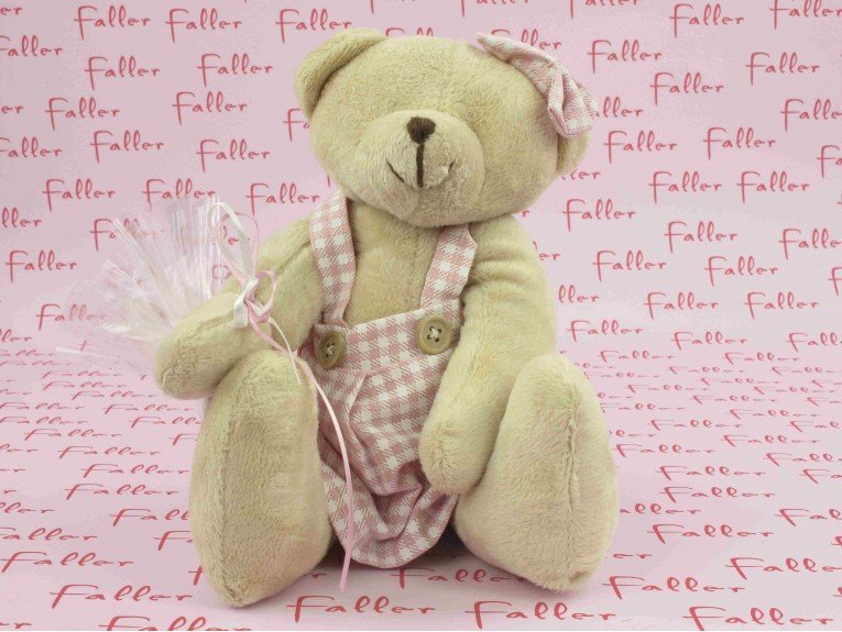 Grande peluche ourson vichy rose avec dragees