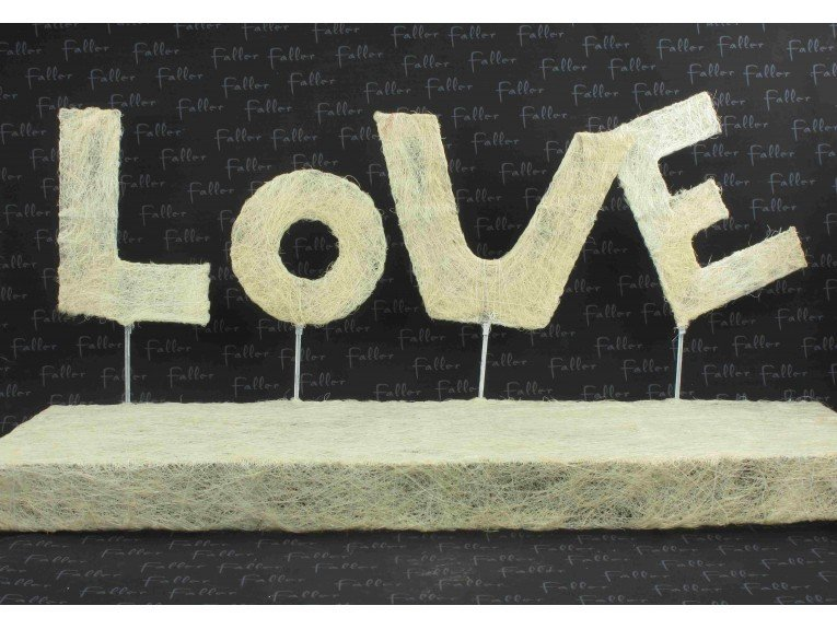 Présentoir dragées mariage : LOVE en écru