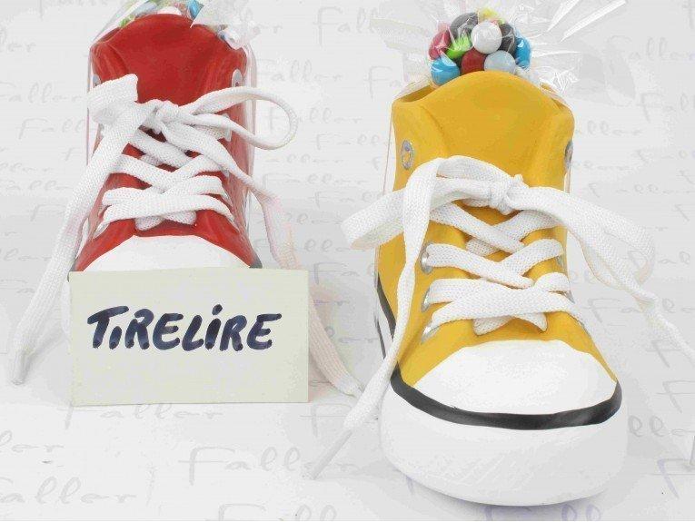 Basket-tirelire rouge et jaune pour anniversaire